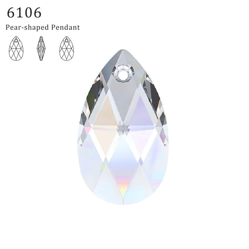 (1 Stück) 100% Original Kristall Von Swarovski 6106 Birne-förmigen Anhänger Aus Österreich Lose Perlen Strass Diy Schmuck Machen FüR Schnellen Versand