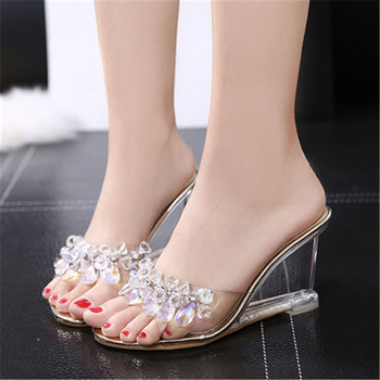 FeiYiTu Black Silver Women Crystal Slipper Wedge Sandals Female Sexy Crystal Transparent High Heels Rhinestone Wedge Sandals