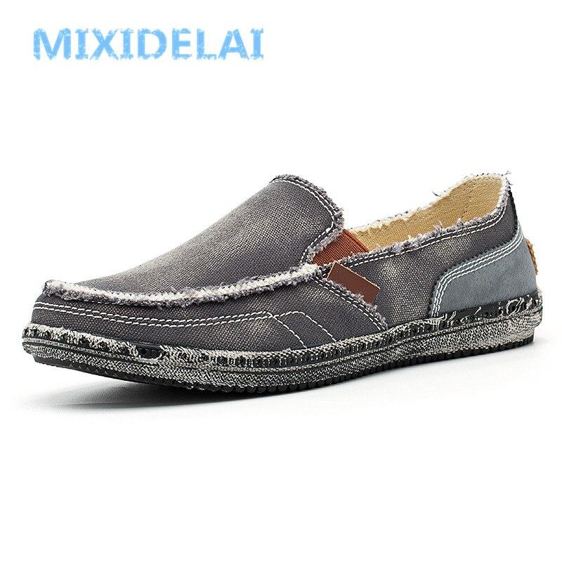 MIXIDELAI классические парусиновые туфли для мужчин 2018 ленивый обувь синий серый зеленый обувь из холста слипоны Лоферы для женщин промывают дж...