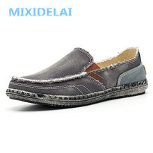 MIXIDELAI klassieke canvas schoenen mannen 2019 lui schoenen blauw grijs groen canvas mocassin mannen slip op loafers gewassen denim casual flats(China)