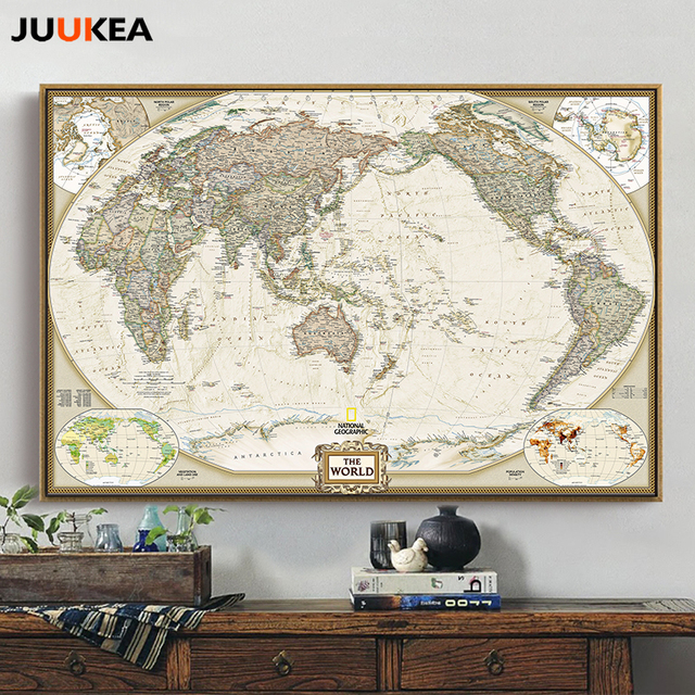 World Map Painting Canvas Prints Large Wall Art Vintage Europe Earth ...