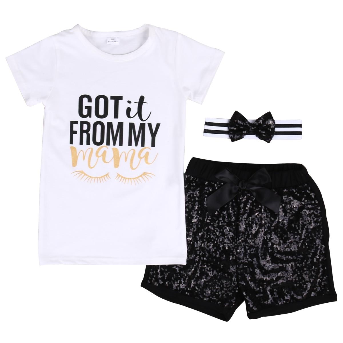 Для новорожденных Обувь для девочек топы для мальчиков футболка + Шорты для женщин Брюки для девочек наряды летние шорты рукав Мама Футболк...