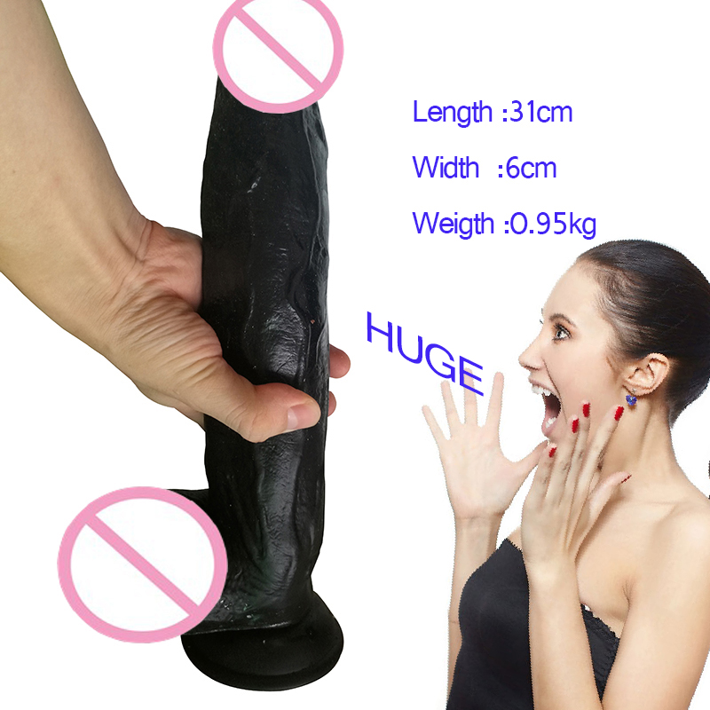 Black Super Long 31cm*6cm Dick Realistic Huge Thick Dildo With Suction Cup Penis Dick Dong Sex Product for Adult Woman Sex Toys super huge dildo 30 5 8cm extreme big realistic dildo sturdy suction cup penis dick dong sex product for women sex toys