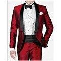Duas peças de festa vermelho ternos ternos masculinos homens vestidos de casamento xaile lapela um botão smoking padrinho de casamento