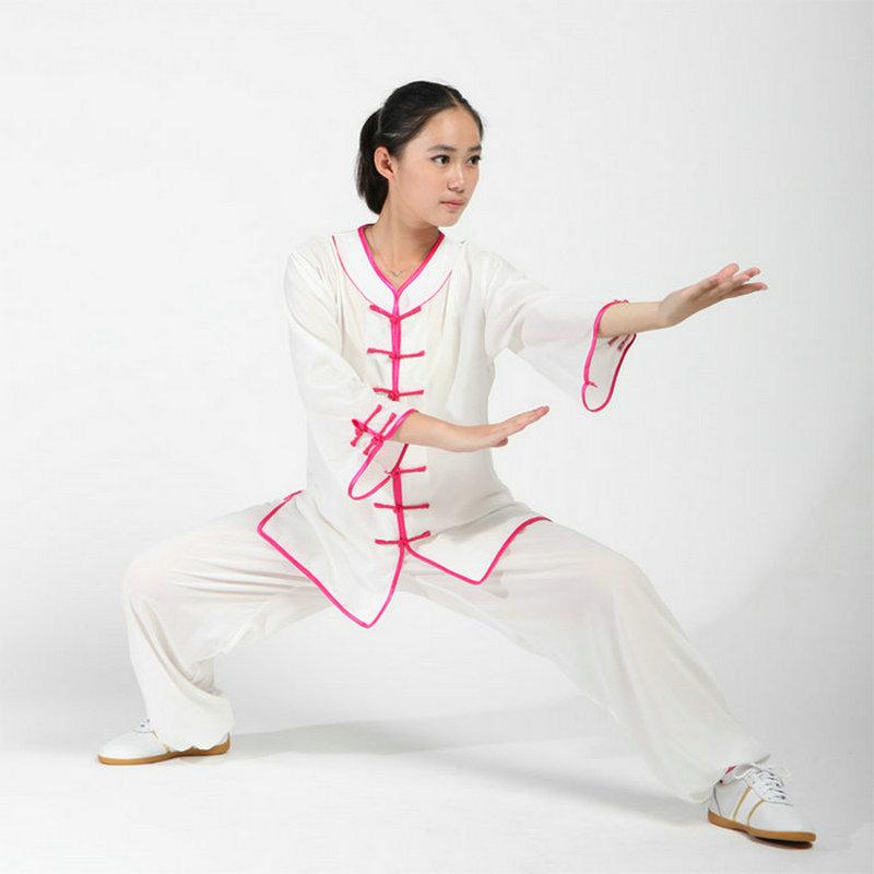ᐃAlgodón y rayón tai chi uniformes Kung Fu chino Taiji ropa Niñas ...
