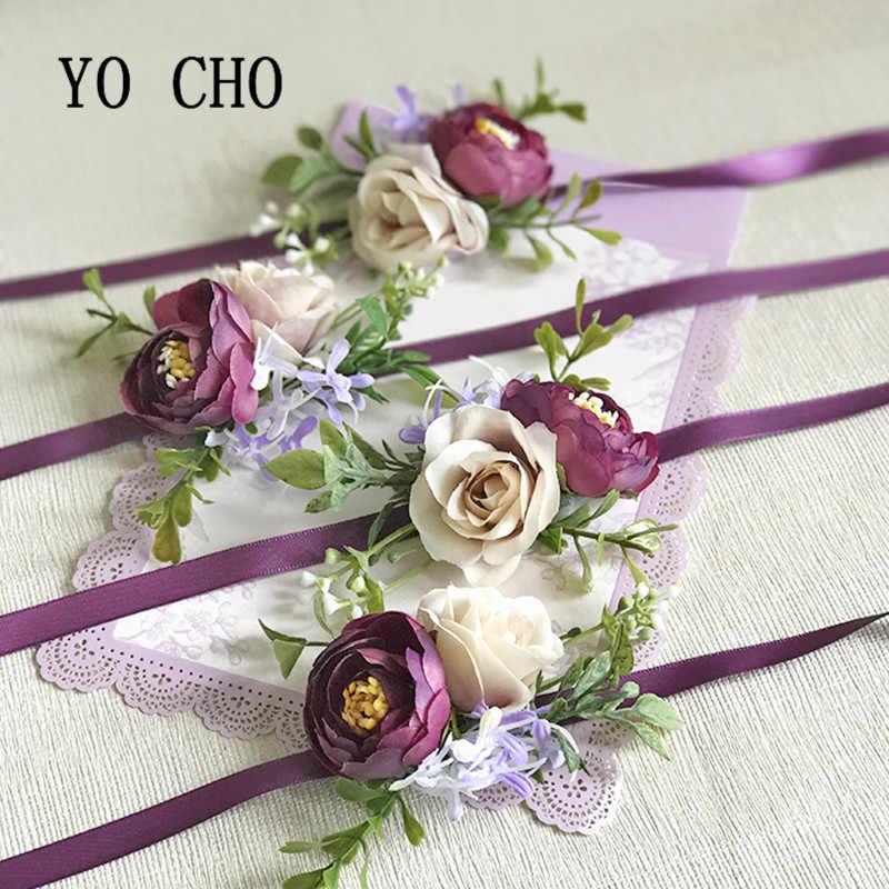 ヨーヨー町紫気質モデルローズ新郎花嫁ブライダル姉妹儀式ウェディング用品男性のボール祝賀リボン引き分けた