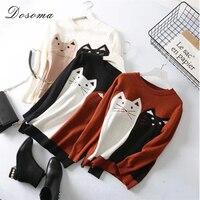 Crochet Kittens Sweater Women Winter Contrast Color Pullover Underwear Top Print Cute Animals Autumn Korean Style