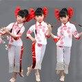Китайский Новый Год Национальный Костюм Танец Девочка Yangko Танцор Носить Ребенка Китайский Народный Костюм Бумажные порезы Вентилятор Костюм Танец 89