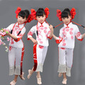 Chinese New Year National Dance Costume  Girl Yangko Dancer Wear Child Chinese Folk Costume Paper-cuts Fan Dance Costume 89