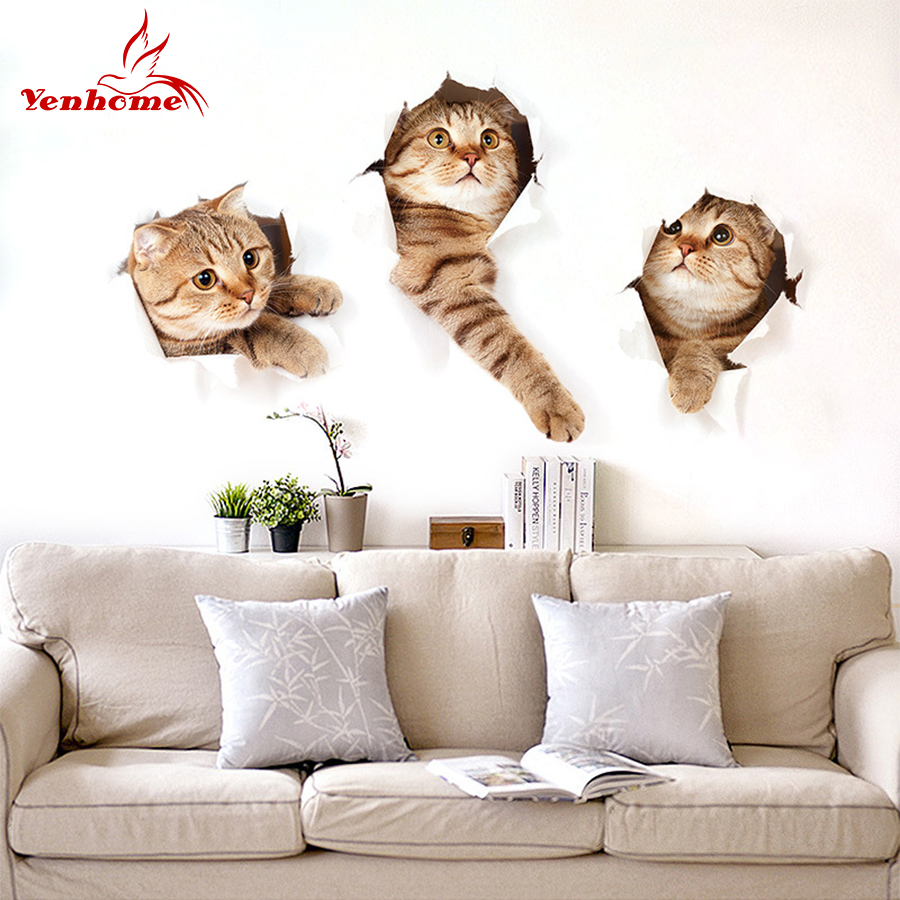 Vinyl 3D Three Cat Wall Sticker Hole View Bathroom Toilet Living Room Kitchen Kid Bedroom Home Decor Decal Poster Wall Stickers