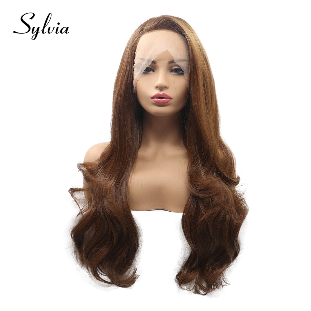 Sylvia Natural Brown Body Wave Synthetic Full Lace Wigs with Side Parting Soft Japanese Fiber Heat