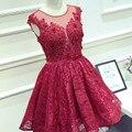Chegam novas Elegante 2016 Lace vestidos curtos prom dianteiro curto tempo de volta vestido de baile