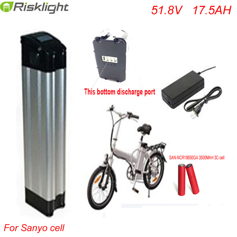 Bottom discharge  51.8V 1000W electric bike battery 52V lithium ion battery pack 51.8v 17.5ah for electric bike For Sanyo Cell bottom discharge silver fish battery 51 8v e bike battery pack li ion ebike 52v 13ah akku for electric bicycle kit 1000w