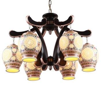 Antique chinois en céramique salon suspension lampe Jingdezhen en céramique classique chambre restaurants pendentif lumières LO7307