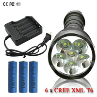 10000 lumens Powerful Flashlight Removable led flash lights 6x CREE XML T6 3x 18650 Rechargeable Battery Portable camping torch