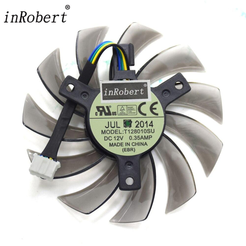 Everflow T128010SU 75mm 4Pin 12 V 0.35A ventiladores de refrigeración tarjeta gráfica Gigabyte GeForce GTX 670 680 570 580 ti ventilador enfriador