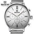 Skone 3 diales multifunción relojes de los hombres de primeras marcas de moda de lujo para hombre reloj de cuarzo reloj de vestir relogio masculino xfcs hodinky