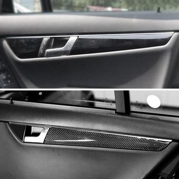Car Carbon Fiber Interior Door Handle Panel Strips Cover Trim For Mercedes Benz C Class W204 2007 2008 2009 2010 2011 2012 2013 carbon fiber mercedes benz 2011 2013 w204 c class coupe rear wing trunk spoiler