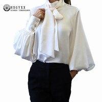2018 New Spring Autumn Blouse Women Lantern Sleeve Bow Neck Loose Tops Plus Size Elegant Chiffon