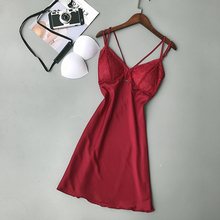 2019 Summer Women Silk Nightgowns Satin Sexy Spaghetti Strap Backless Sleepwear Female Lace Elegant Nightdress With Chest Pads