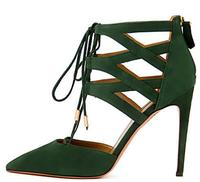 High Quality Ankle Wrap Women Pumps High Heels Shoes Woman Black Green Ladies Shoes Pointed Toe