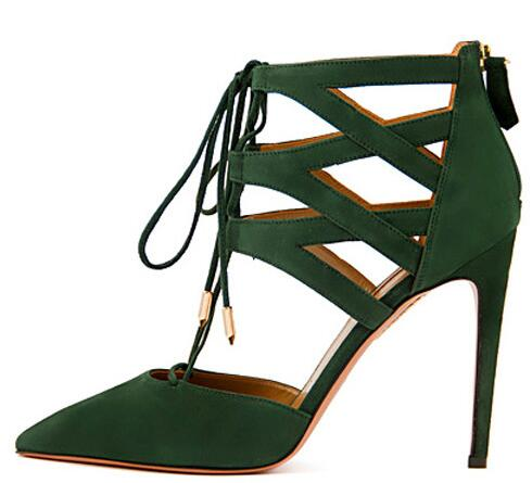 High Quality Ankle Wrap Women Pumps High Heels Shoes Woman Black Green Ladies Shoes Pointed Toe Lace Up Chaussure Femme Cutouts women pumps flock high heels shoes woman fashion 2017 summer leather casual shoes ladies pointed toe buckle strap high quality