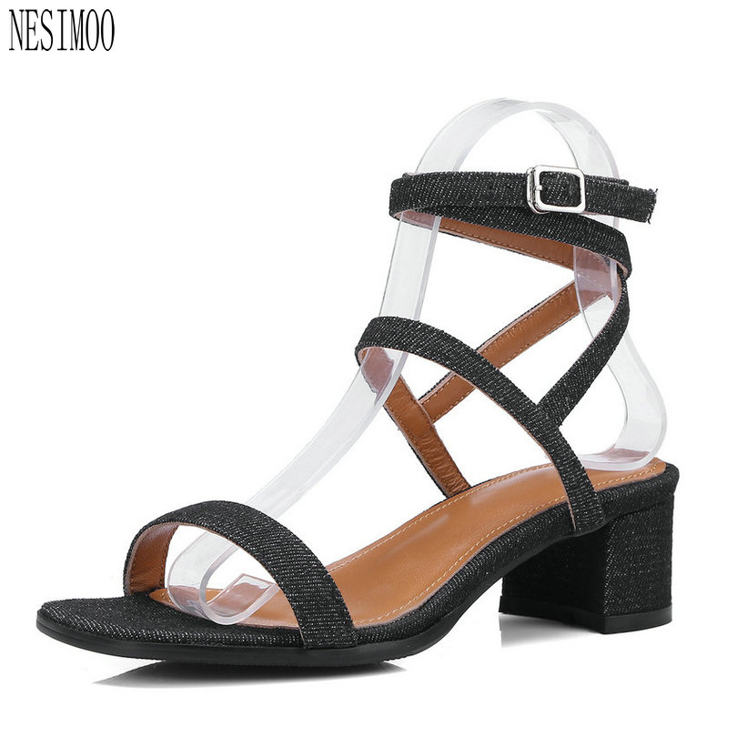 NESIMOO 2018 Fashion Women Sandals Shoes Genuine Leather Woman Slingback  Square High Heel Ladies Wedding Shoes c852ff34b701