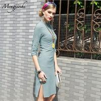 Modern Cheongsam Fashion Qipao Oriental Female Beauty Dress Elegant Dress New Products 2018 Flax Dress Linen