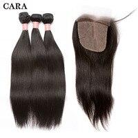 Бразильский Девы пучки волос плетение с Шёлковые подкладки 3 P прямые Пряди человеческих волос для наращивания и 4x4 Шёлковые подкладки CARA