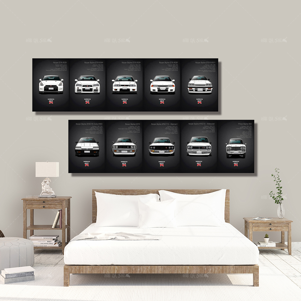 Wall Art Canvas Paintings Classic Retro Nissan Skyline GTR Car Pictures Bedside Home Decorative Posters HD Print Artwork Mural in Painting Calligraphy from Home Garden
