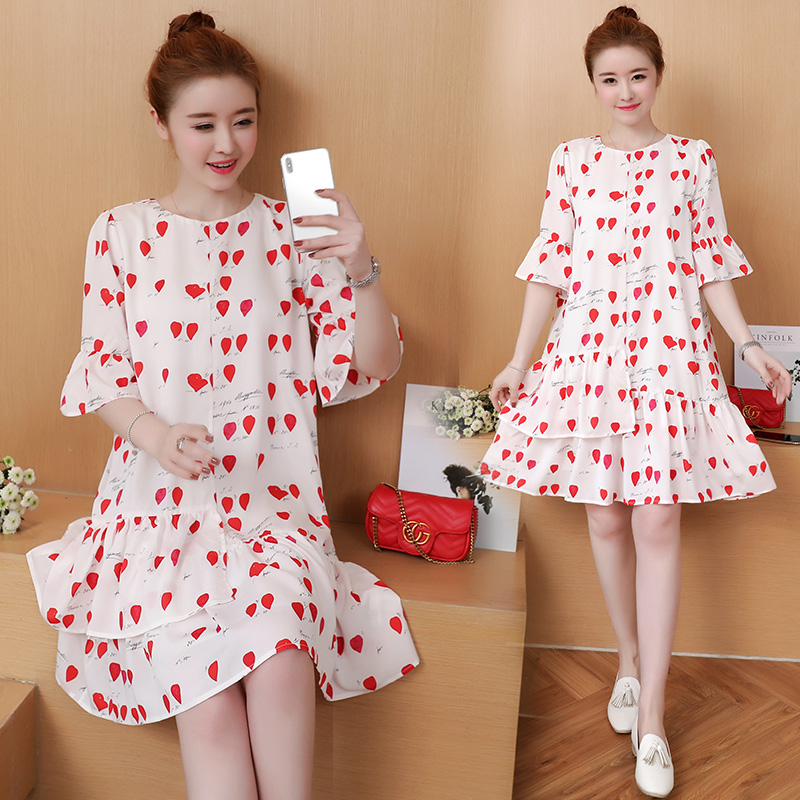Flower Print Maternity Clothing Casual Pregnancy Dress Summer Cotton Fashion Floral Maternity Clothes For Pregnant Women