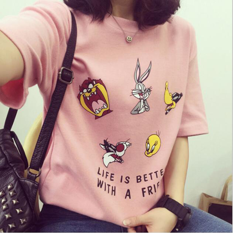 Cute Cartoon Print Tshirt Women Spring Summer New Style Short Sleeve O Neck Cotton Women Tops Tees Loose Woman   T     shirt