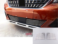 10PCS Stainless Steel Exterior Outer Front Radiator Grille Lower Mouldings Cover Accessories Car Styling For Peugeot