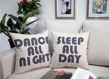 مضحك النوم كل يوم الرقص طوال الليل وسادة تغطية مجموعة خمر الزخرفية الكتان رمي سادة القضية أريكة الأريكة ديكور المراهقات الهدايا