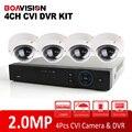 HD CVI CVR Поддержка 2-МЕГАПИКСЕЛЬНАЯ Видео Записи + 4 Шт. 1080 P 4Ch купольная HDCVI Камеры ВИДЕОНАБЛЮДЕНИЯ 1080 P 4CH HD CVI DVR Системы комплект