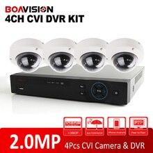 HD CVI CVR Supports 2MP Video Recording +4Pcs 1080P 4Ch Dome HDCVI Camera CCTV 1080P 4CH HD CVI DVR System Kit