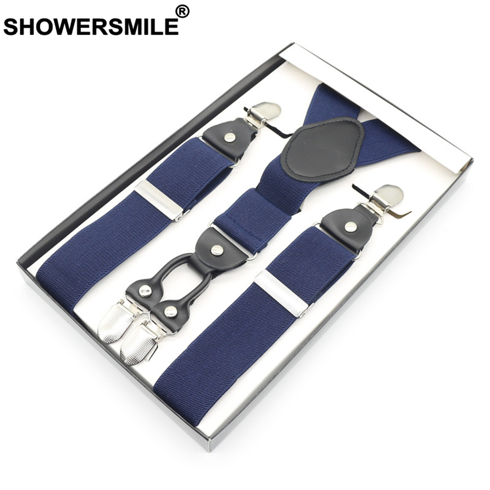 SHOWERSMILE Mens Braces For Trousers Navy Blue Business Suspenders For Men 120cm Business Thick Leather Elastic Male Pants Strap