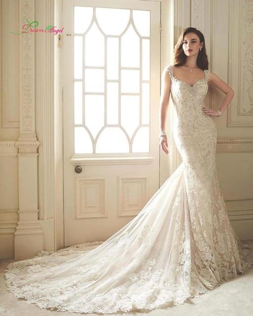 New Designer Sweetheart Vintage Lace Mermaid Wedding Dress 2017 Cap Sleeve Appliques Chapel Train Trumpet Bride Gown Plus Size