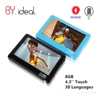 HD Touch MP4 Video Player 8gb Build in Speaker 4.3 Inch Screen MP4 Player Support Av Out Recorder 30 Languages MP5 Music Player