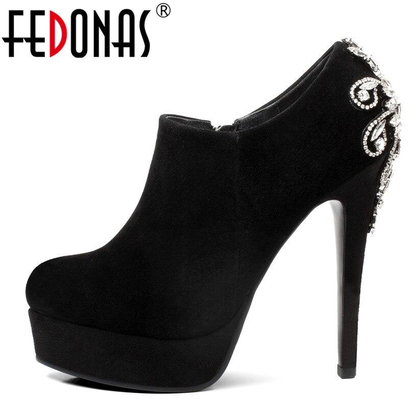 FEDONAS nouvelles femmes Sexy talons Super hauts 13 CM chaussures de mariage de fête strass fermeture à glissière pompes de bal chaussures en cuir daim femme