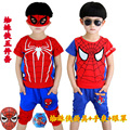 Children's clothing teenage boys clothes summer short-sleeve new spider man suit t shirt+pants kids clothes children clothing
