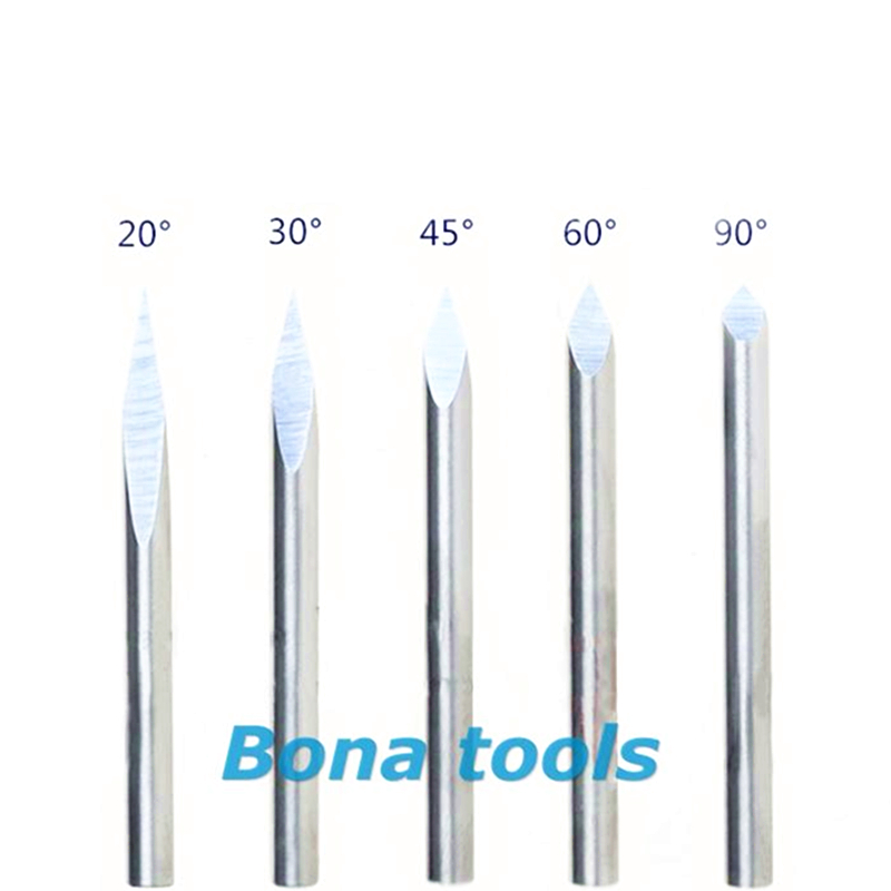 5x High Quality Sharp 10° 0.1mm Carbide Steel CNC Router Pyramid engraving Bits