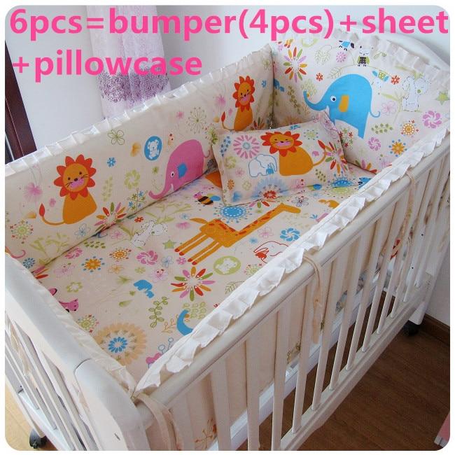 Promotion! 6PCS Cotton Baby Cot Bedding Set Detachable Cartoon Crib Bedding (bumpers+sheet+pillow cover)