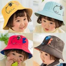 Dinosaur Kids Hat Cotton Double-sided Bucket Spring Autumn Cap Outdoor Beach Sun Children Cartoon Casual Caps