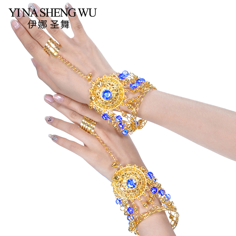Belly Dance Indian Bollywood Jewelry Accessories With Rhinestones Bells 1 Pair Indian Jewelry Bracelet Belly Dancing Accessories