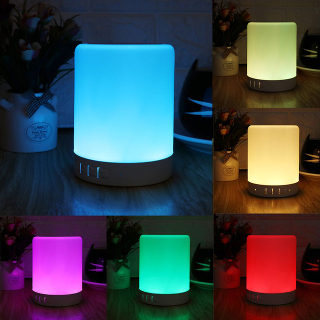 1 Set Portable Night Light with Bluetooth Speaker Wireless Bluetooth Speaker Touch Control Color LED Bedside Table Lamp