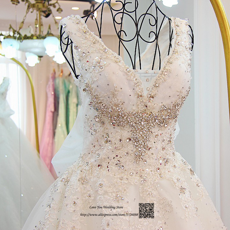 Vestidos De Noivas Real Luxury Wedding Dresses 2017 Lace Crystals Sequin Gowns Ball Gown Korean Bridal Dress Court Train In From