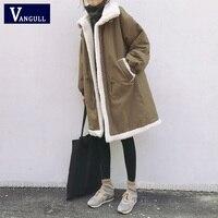 Vangull плюс размер 5XL Женские парки зимние пальто меховая подкладка теплая Женская куртка средней длины флисовая кашемировая подкладка пальт...