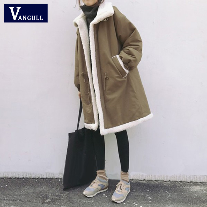 Vangull Plus Size 5XL Women   Parkas   Winter Coats Fur Lined Warm Female Jacket Mid Long Fleece Cashmere Liner Coat Outwear 2019