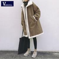 Vangull Plus Size 5XL Women Parkas Winter Coats Fur Lined Warm Female Jacket Mid Long Fleece Cashmere Liner Coat Outwear 2019